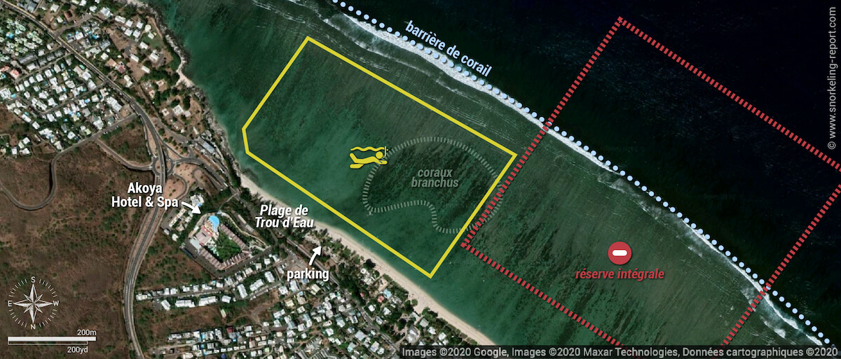Carte snorkeling à la plage de Trou d'Eau