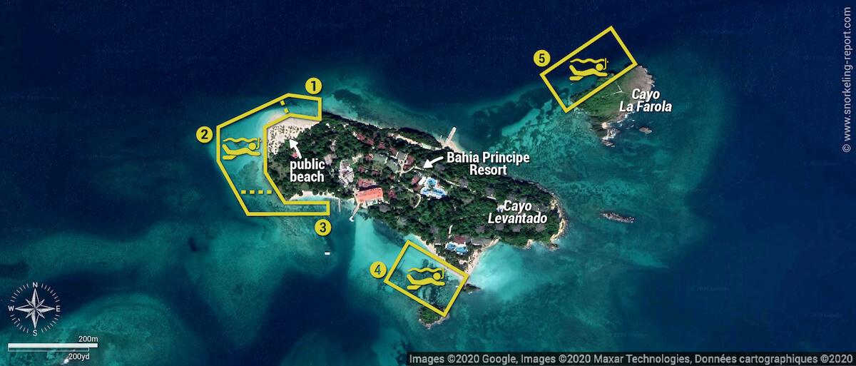 Cayo Levantado snorkeling map