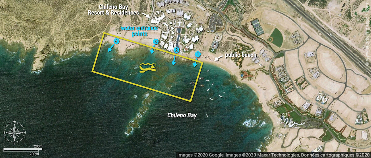 Chileno Bay snorkeling map, Mexico