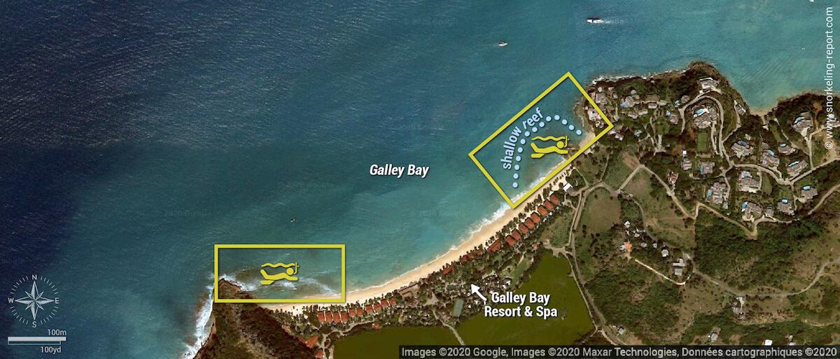 Galley Bay snorkeling map, Antigua