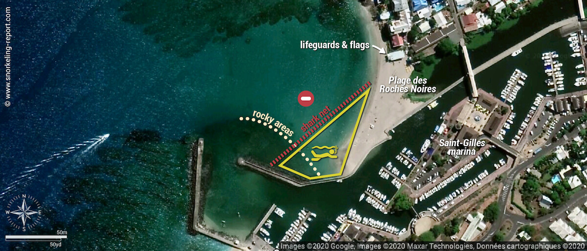 Roches Noires snorkeling map