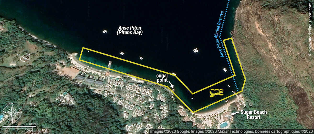 Sugar Beach Anse Piton snorkeling map