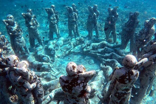 Underwater statues in Gili Islands