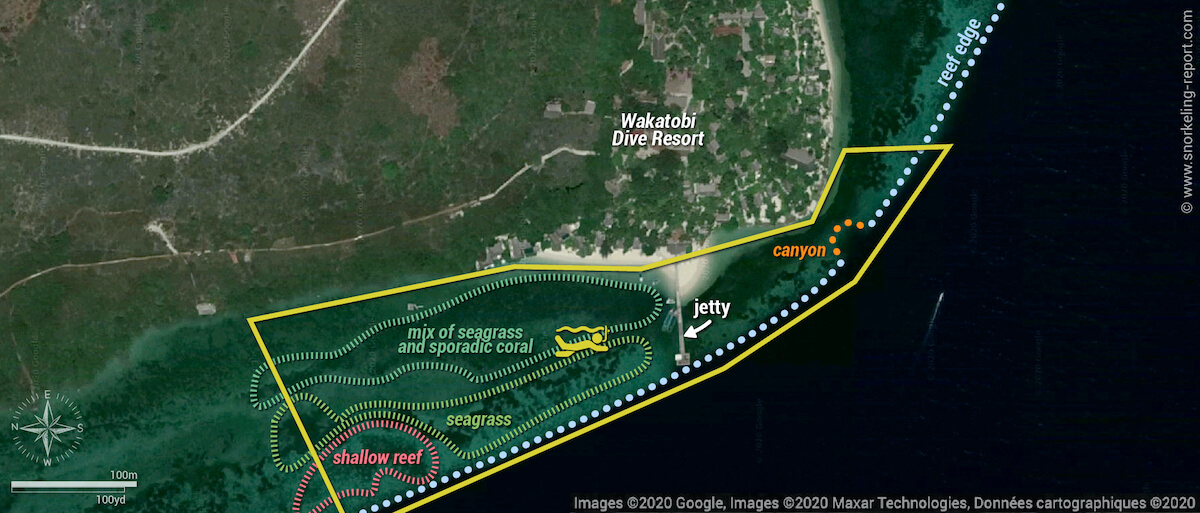 Wakatobi Dive Resort snorkeling map