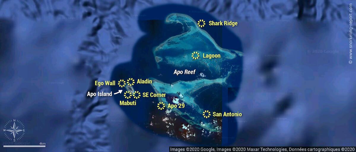 Apo Reef snorkeling map