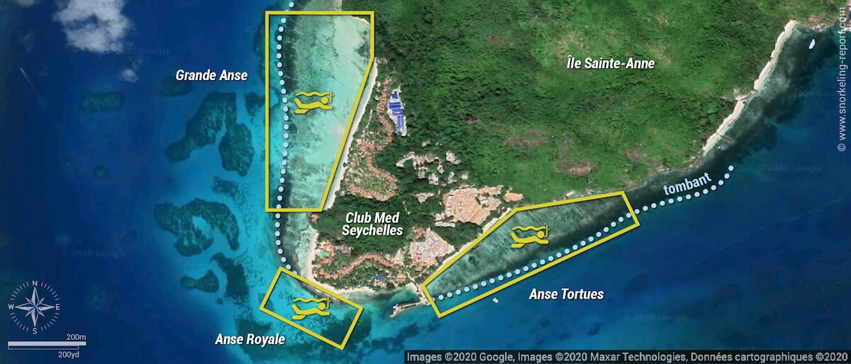 Carte snorkeling au Club Med Seychelles, Sainte-Anne