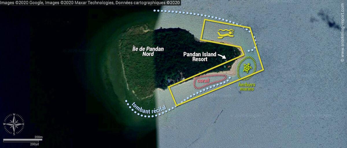 Carte snorkeling à Pandan Island