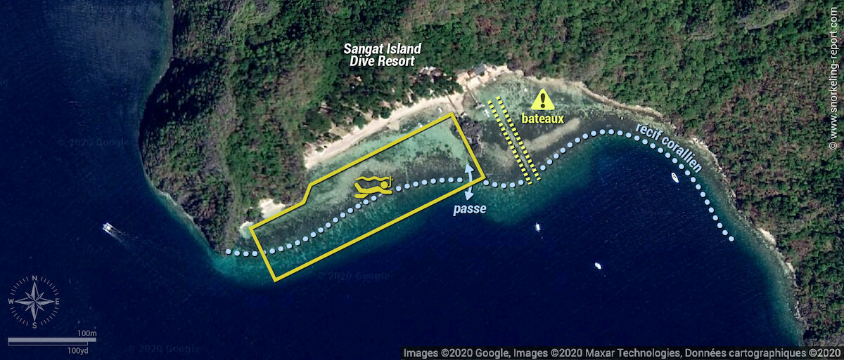 Carte snorkeling sur l'île de Sangat, Philippines