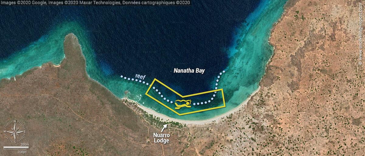 Nuarro Lodge snorkeling map, Nanatha Bay