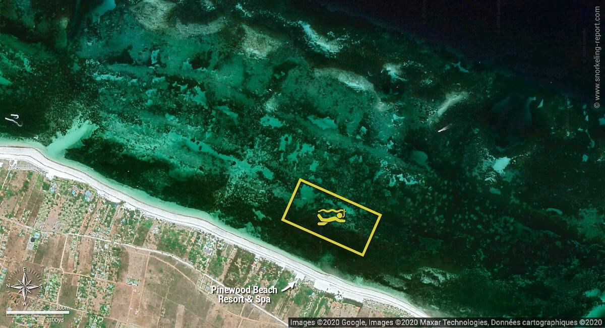 Pinewood Beach snorkeling map, Diani