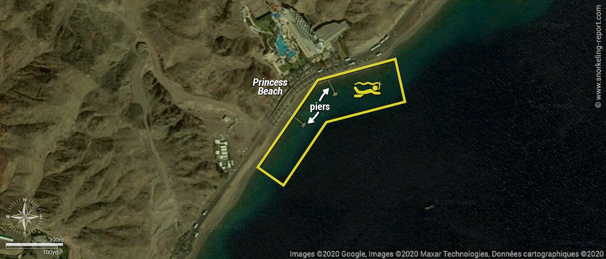 Princess Beach snorkeling map, Eilat