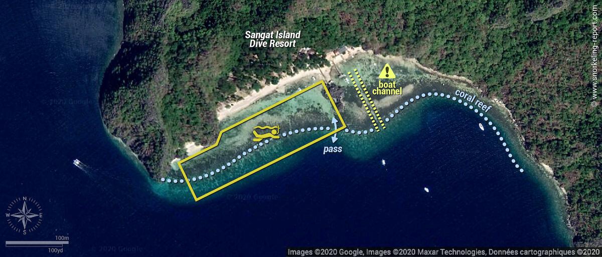 Sangat Island Dive Resort snorkeling map