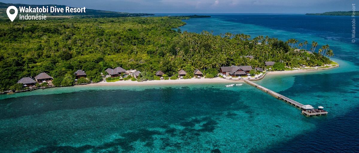 Vue aérienne du Wakatobi Dive Resort