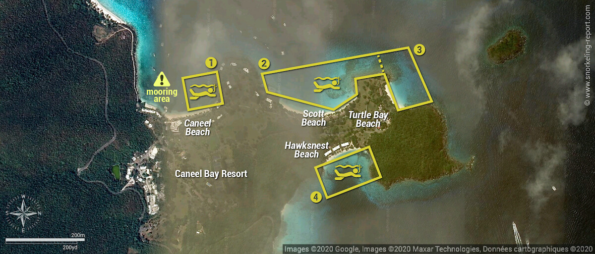 Caneel Bay Resort snorkeling map, USVI