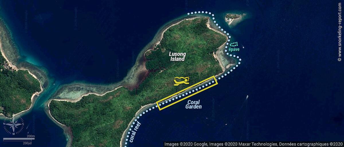 Carte snorkeling au Lusong Coral Garden