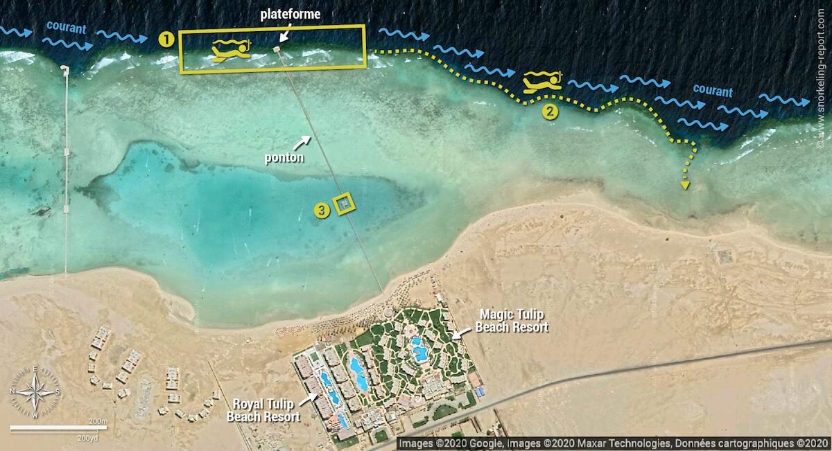 Carte snorkeling aux Tulip Resorts, Marsa Alam