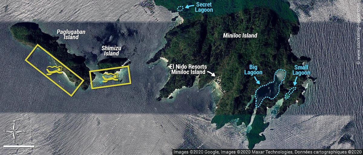 Al Nido snorkeling tour A map