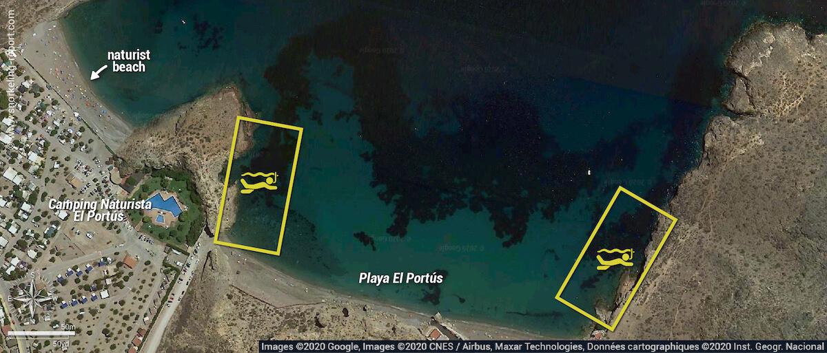 Playa El Portús snorkeling map, Spain