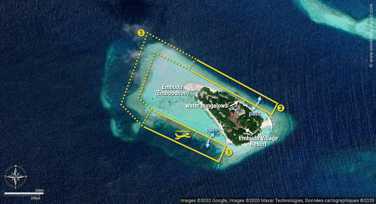 Embudu Village snorkeling map, Maldives