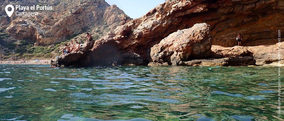 Rocky shore at Playa El Portús