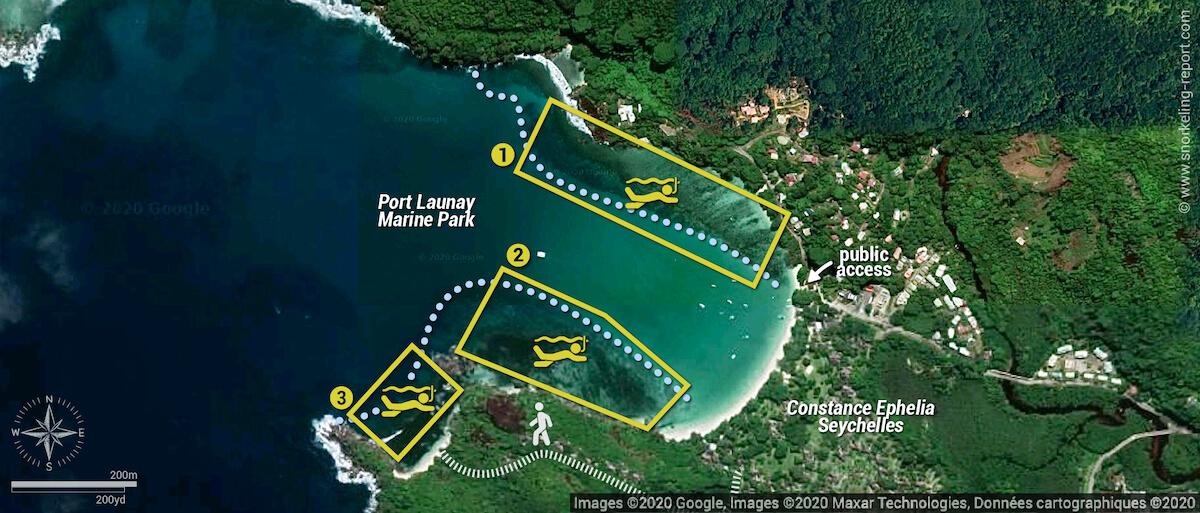 Port Launay Marine Park snorkeling map