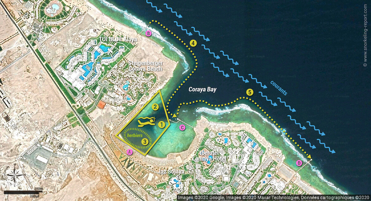 Carte snorkeling à Coraya Bay, Marsa Alam