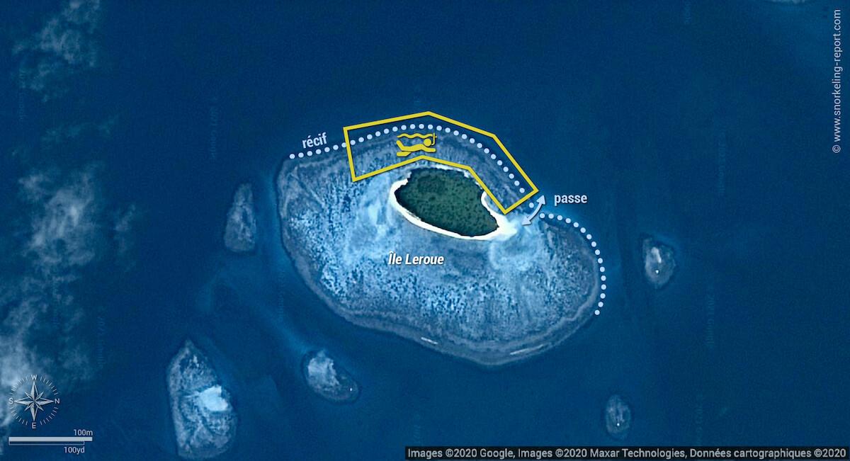 Carte snorkeling à l'Île Leroue, Nouvelle-Calédonie
