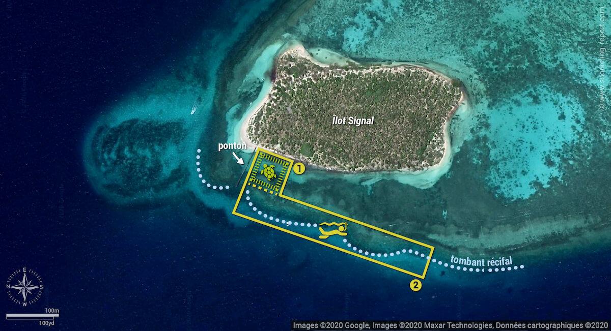 Carte snorkeling à l'Îlot Signal, Nouvelle-Calédonie