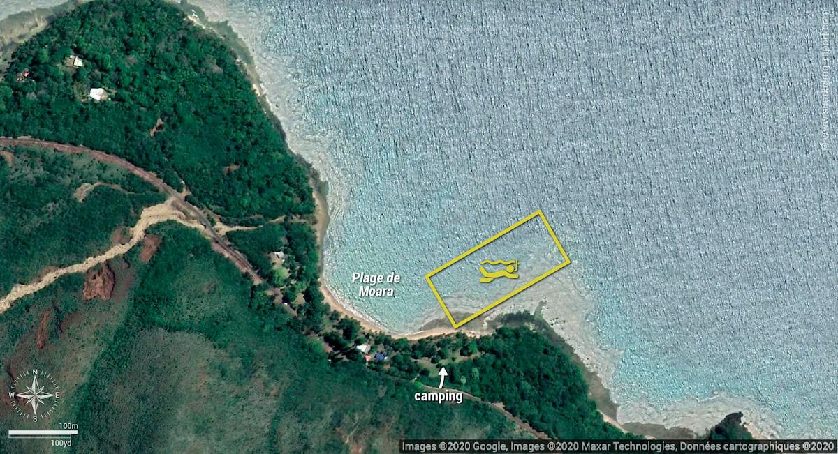 Carte snorkeling à la plage de Moara