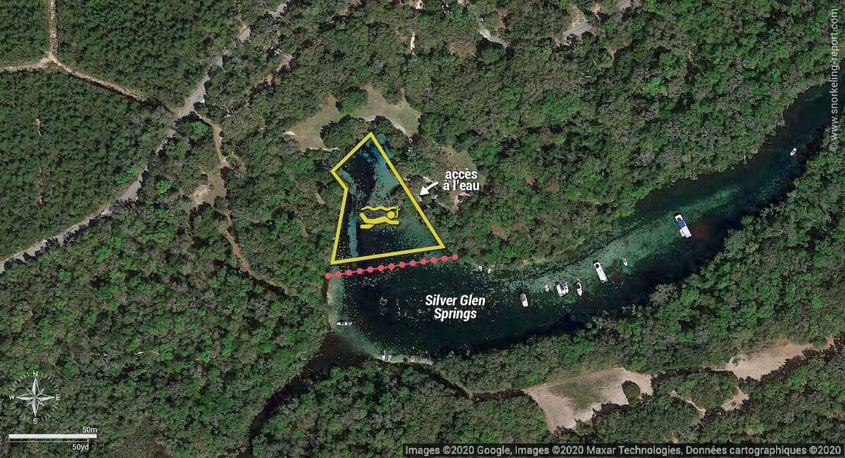 Carte snorkeling aux sources de Silver Glen Springs, Floride
