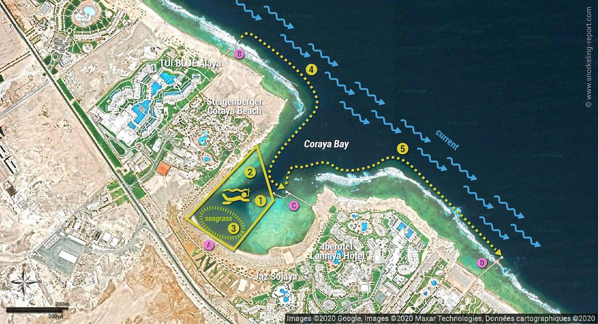 Coraya Bay snorkeling map Marsa Alam