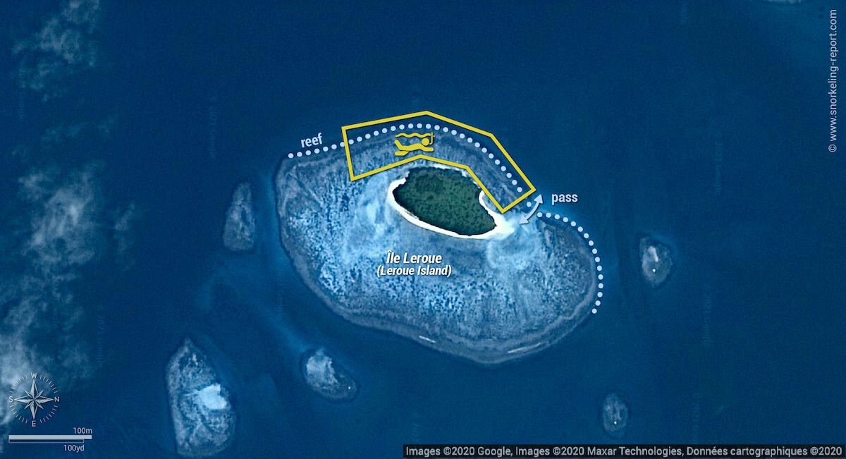 Leroue Island snorkeling map