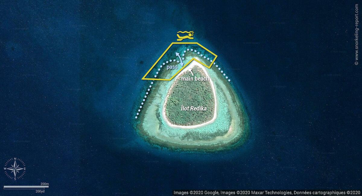 Ilot Redika snorkeling map, New Caledonia