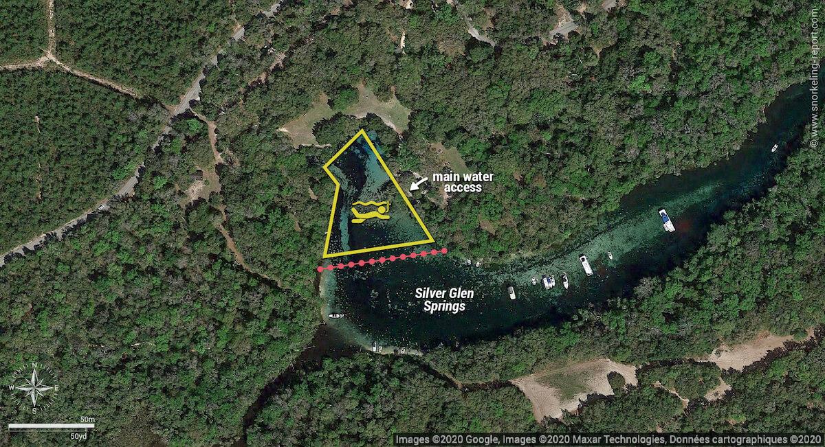 Silver Glen Springs snorkeling map, Florida