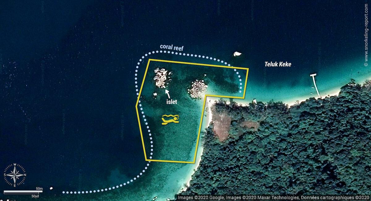 Teluk Keke snorkeling map, Perhentian Besar