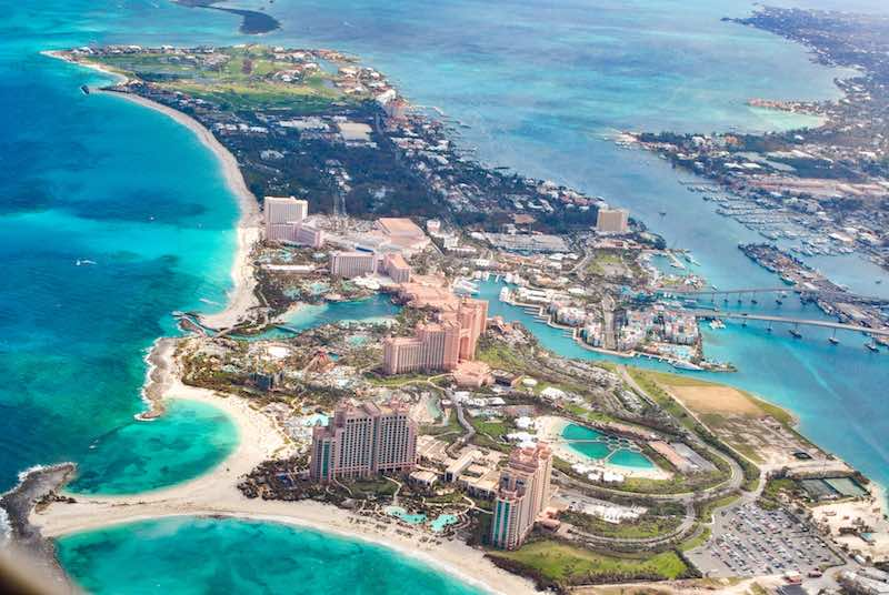 Aerial view of the hotel area of Nassau, Bahamas
