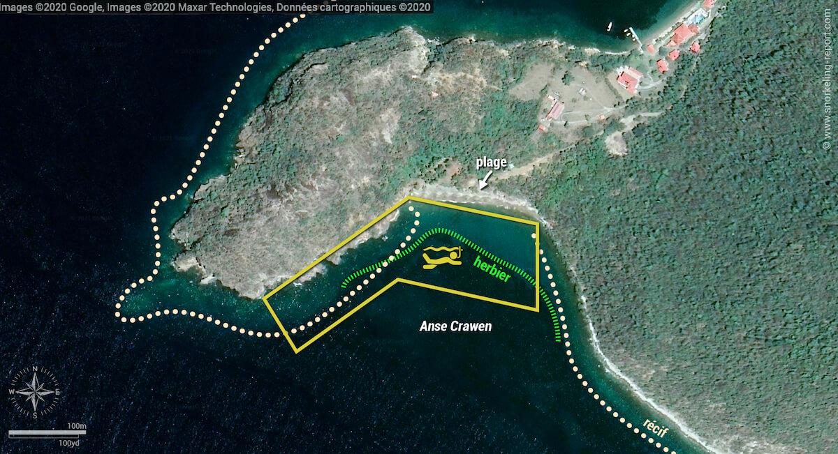 carte snorkeling à Anse Crawen, Les Saintes