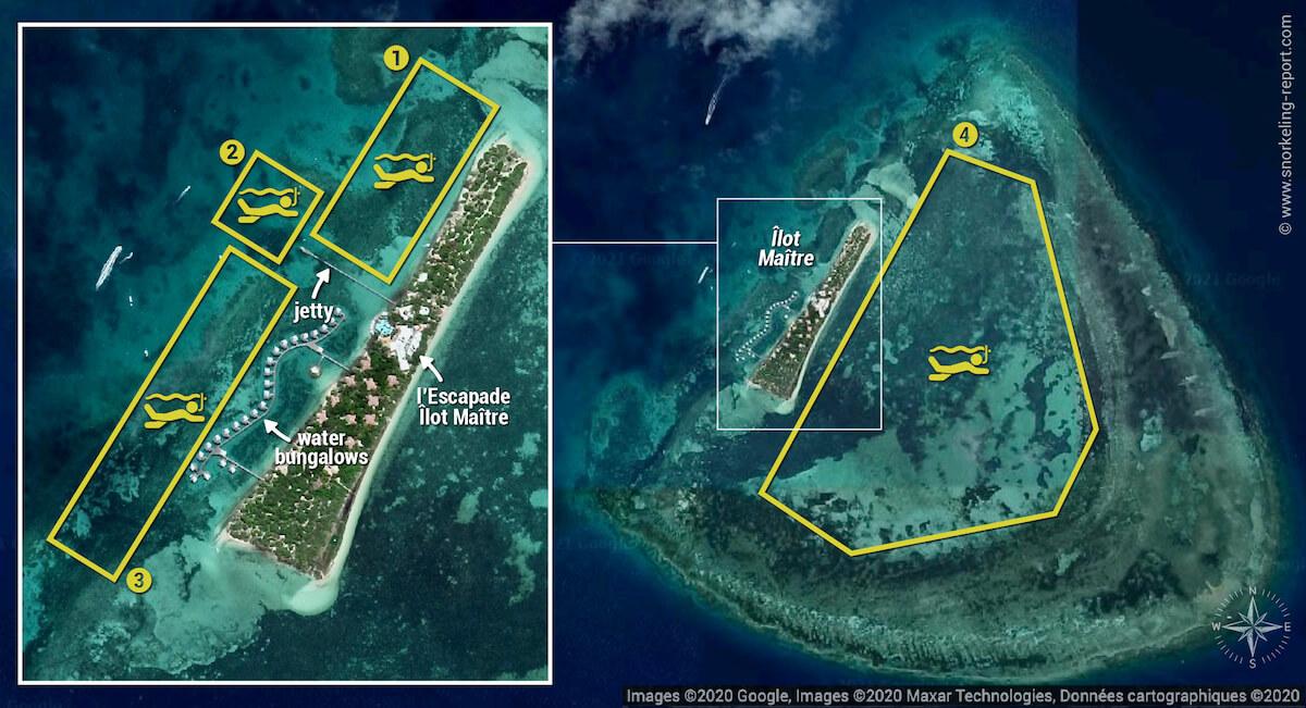 Ilot Maitre snorkeling map, New Caledonia