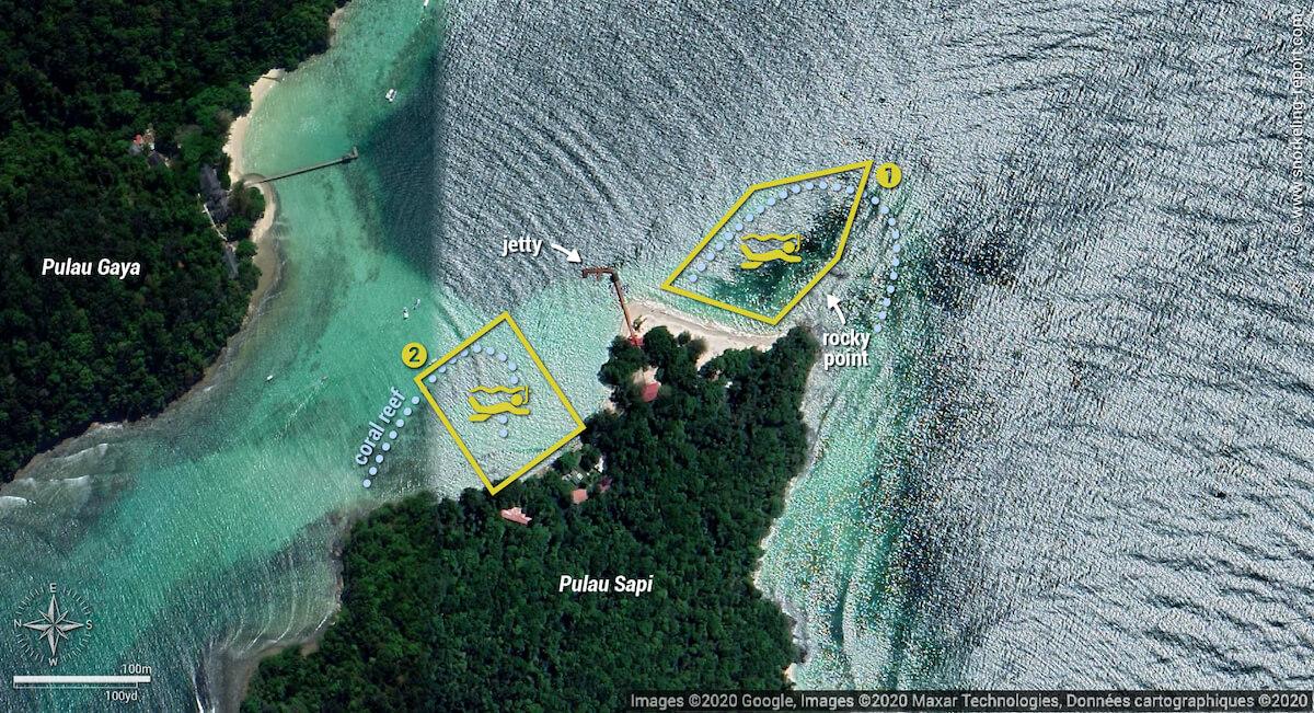Pulau Sapi snorkeling map, Sabah