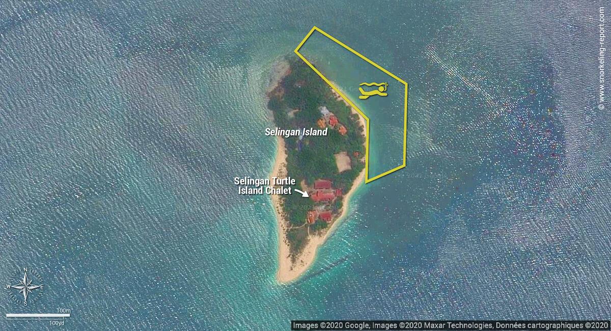 Selingan Island snorkeling map, Turtle Islands National Park