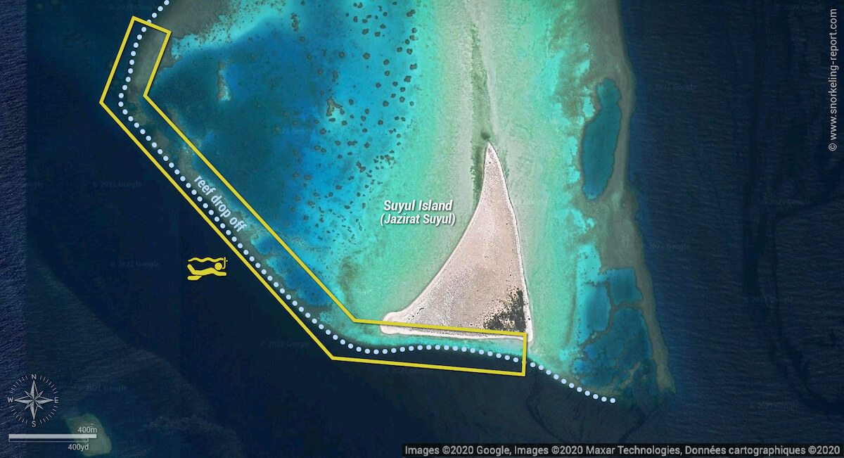 Suyul Island snorkeling map, Hamata