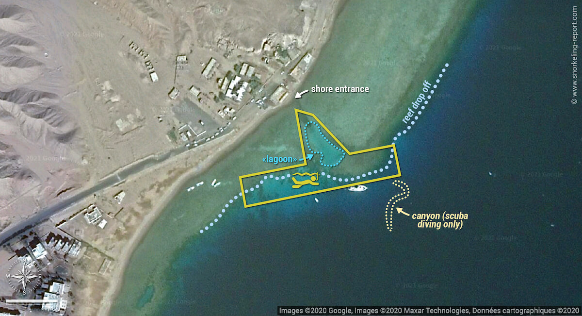 Dahab's Canyon snorkeling map, Red Sea