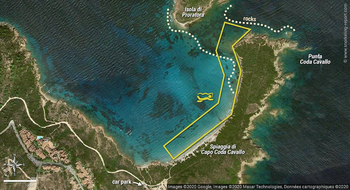 Carte snorkeling au Capo Coda Cavallo snorkeling map, San Teodoro
