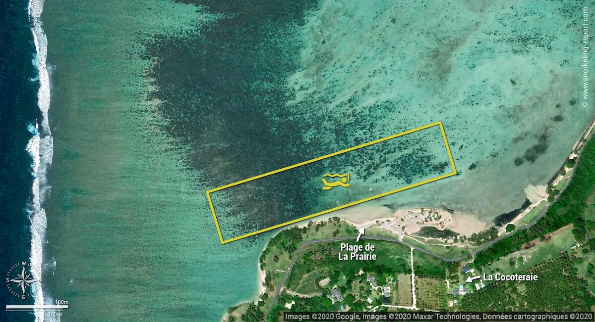 Carte snorkeling à la plage de La Prairie, Île Maurice