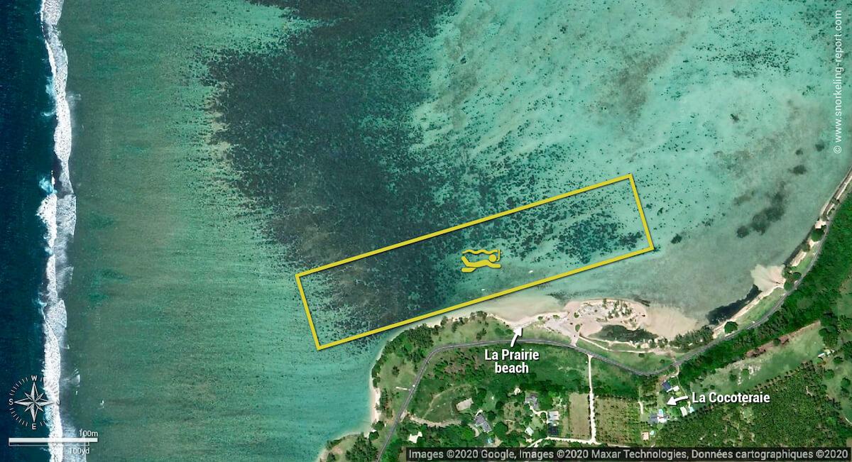 La Prairie Beach snorkeling map, Mauritius