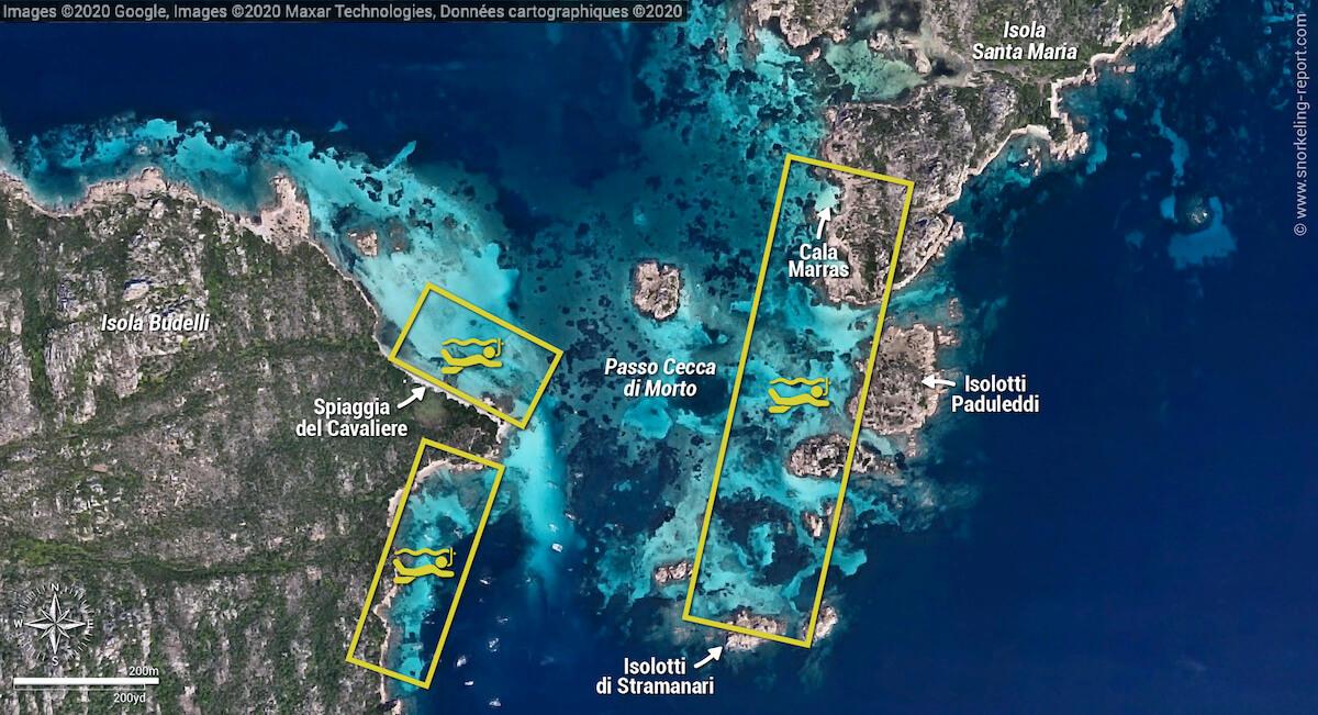 Passo Cecca di Morto snorkeling map, La Maddalena archipelago