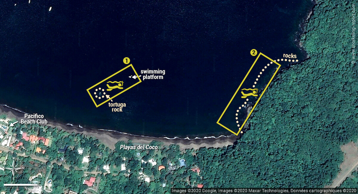 Playas del Coco snorkeling map, Costa Rica