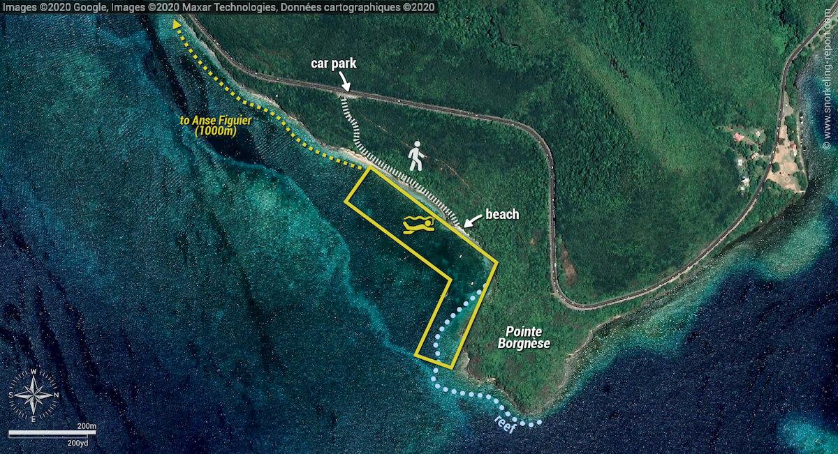 Pointe Borgnese snorkeling map, Martinique