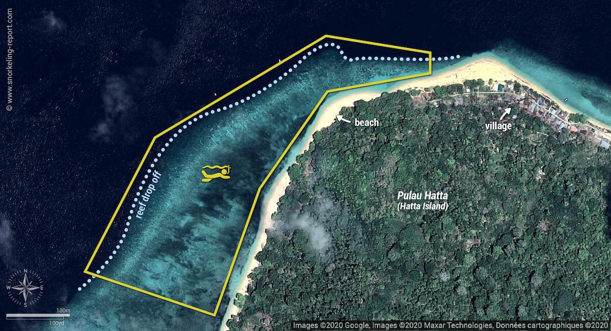 Hatta Island (Pulau Hatta) snorkeling map