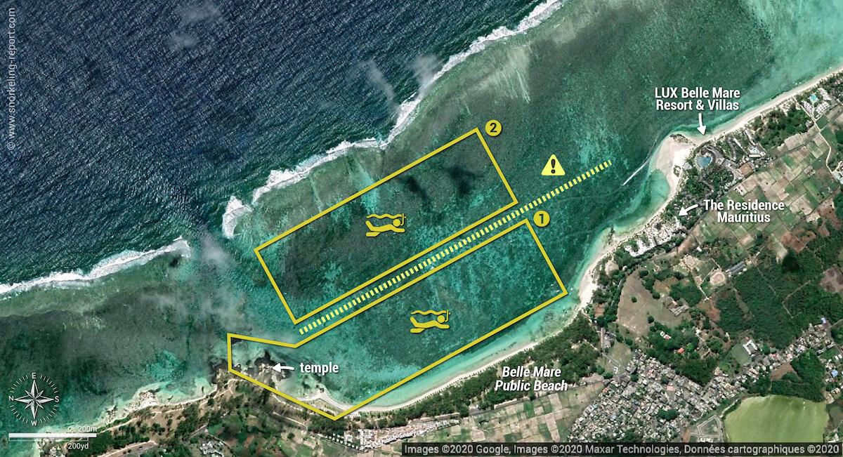Belle Mare public beach snorkeling map